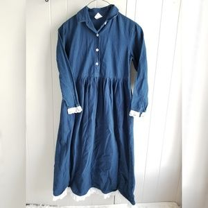 Vintage Hanna Andersson Dress Full Denim Long Slv